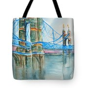 Roebling On The Ohio River Tote Bag