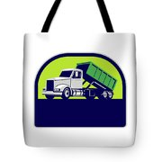 Roll-off Truck Side Up Half Circle Retro Tote Bag