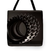 Rollin' Gears Black And White Tote Bag