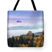 Rolling Fog At Columbia River Gorge In Fall Tote Bag