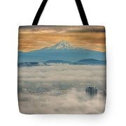 Rolling Low Fog Over City Of Portland Tote Bag