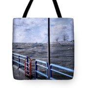 Rolling Waves In Winter At Grand Haven Tote Bag
