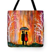 Romance In The Rain Tote Bag