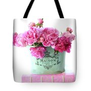 Paris Red Pink Peonies Maison Flowers Pink Book - French Aqua Pink Peonies Books Wall Decor Tote Bag