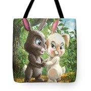 Romantic Cute Rabbits Tote Bag