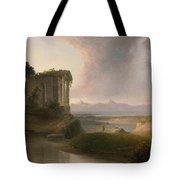 Romantic Landscape With A Temple Tote Bag