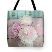 Paris Peonies Floral Books Art - Pink And Aqua Peonies Books Decor - Shabby Chic Peonies  Tote Bag