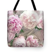 Romantic Shabby Chic Pastel Pink Peonies Bouquet - Romantic Pink Peony Flower Prints Tote Bag