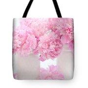Shabby Chic Pastel Pink Peonies - Pink Peonies In White Mason Jars Tote Bag