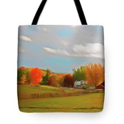 Romantic Skies Autumn Farm Tote Bag
