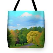 Romantic Skies Autumn Road Tote Bag