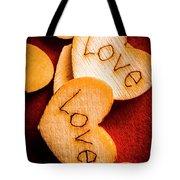 Romantic Wooden Hearts Tote Bag