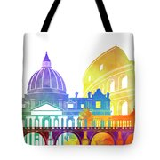 Rome Landmarks Watercolor Poster Tote Bag