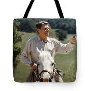 Ronald Reagan On Horseback  Tote Bag