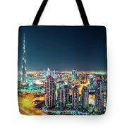 Rooftop Perspective Of Downtown Dubai Tote Bag