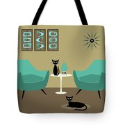 Room With Dark Aqua Chairs Tote Bag