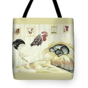 Rooster And Cat Tote Bag