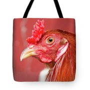 Rooster Close-up On A Reddish Background Tote Bag