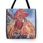 Rooster Country Painting On Blue  Tote Bag