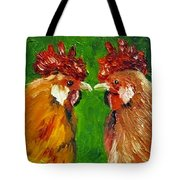 Rooster Face Off Tote Bag