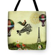 Rooster Flying High Tote Bag