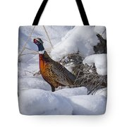 Rooster In The Snow Tote Bag