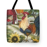 Rooster On The Apple Farm Tote Bag