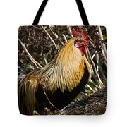 Rooster Protecting Hen Tote Bag