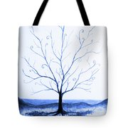 Roots Of A Tree In Blue Tote Bag