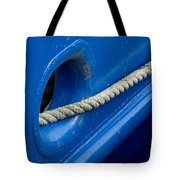 Rope Exiting Through The Bright Blue Tote Bag