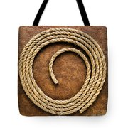 Rope On Leather Tote Bag