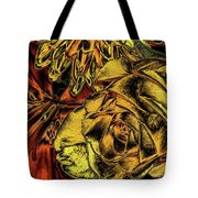 Rose And Lily And Mum With Chrome Effect Tote Bag