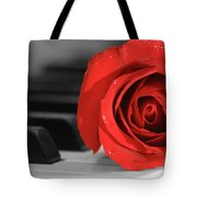 Rose And Piano Tote Bag