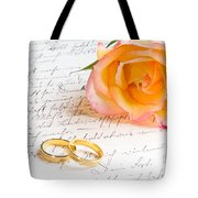 Rose And Two Rings Over Handwritten Letter Tote Bag