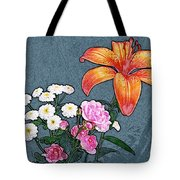 Rose Baby Breath And Lilly Tote Bag