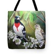 Rose Breasted Grosbeaks Tote Bag