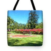 Rose Garden Benches Impressionist Digital Painting Tote Bag
