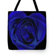 Rose Heart In Blue Velvet Tote Bag