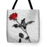Rose In Snow Tote Bag