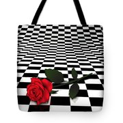 Rose On Black And White #0073 Tote Bag
