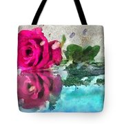 Rose Reflected Fragmented In Thick Paint Tote Bag