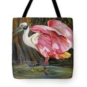 Roseate Spoonbill In A Cypress Swamp Tote Bag