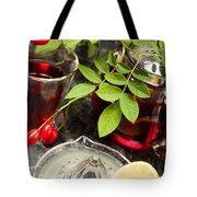 Rosehip Tea With Lemon In Glass Tote Bag