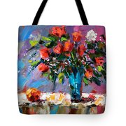 Roses And A Peach Tote Bag