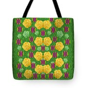 Roses Dancing On A Tulip Field Of Festive Colors Tote Bag