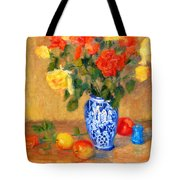 Roses In A Mexican Vase Tote Bag