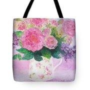 Roses In A Pink Floral Jug Tote Bag