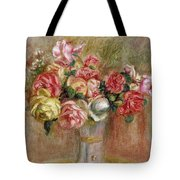 Roses In A Sevres Vase Tote Bag by Pierre Auguste Renoir