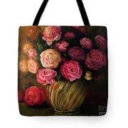 Roses In Brass Bowl Tote Bag