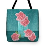 Roses In Clear Blue Jar Tote Bag